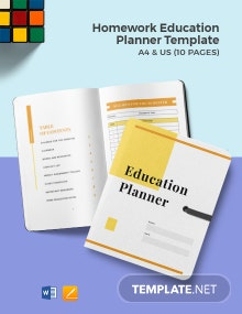 Homework Education Planner Template