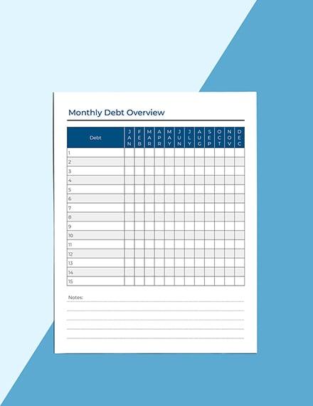 Monthly Debt Planner Download