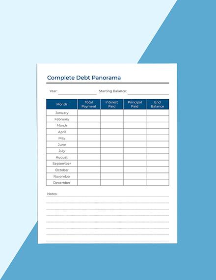 Monthly Debt Planner Editable