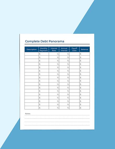 Monthly Debt Planner Example