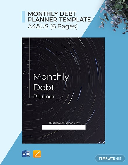 Monthly Debt Planner Format