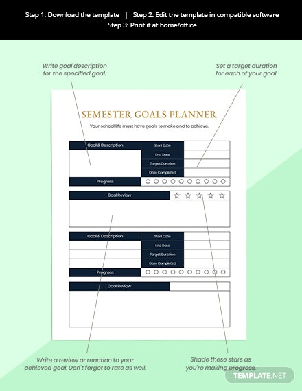 Semester Education Planner Printable Instruction