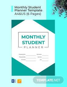 Free Monthly Student Planner Template