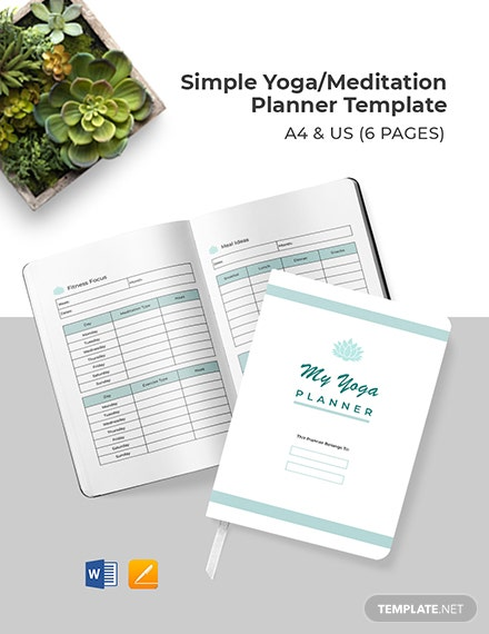 Free Simple Yoga/ Meditation Planner Template