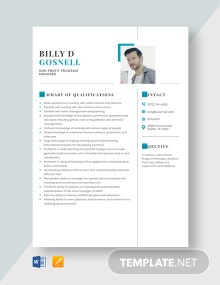 Non Profit Program Manager Resume Template