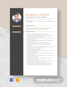 Nuclear Criticality Safety Engineer Resume Template