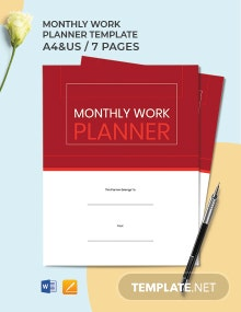 Monthly Work Planner Template