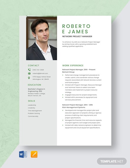 Network Project Manager Resume Template