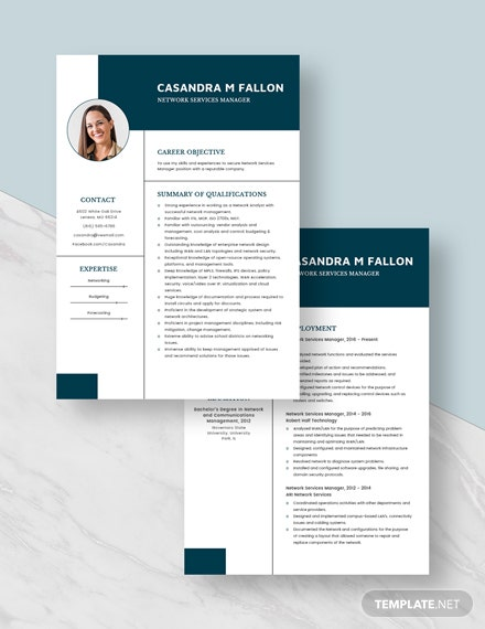 Network Services Manager Resume Download