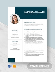Network Services Manager Resume Template