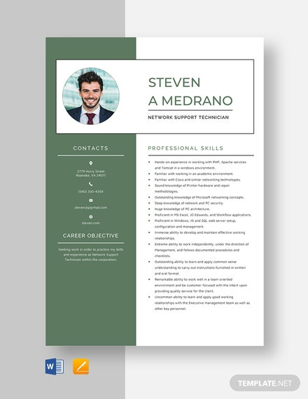 Network Support Technician Resume Template