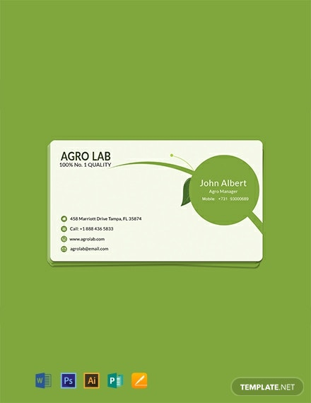 Free Agriculture Business Card Template