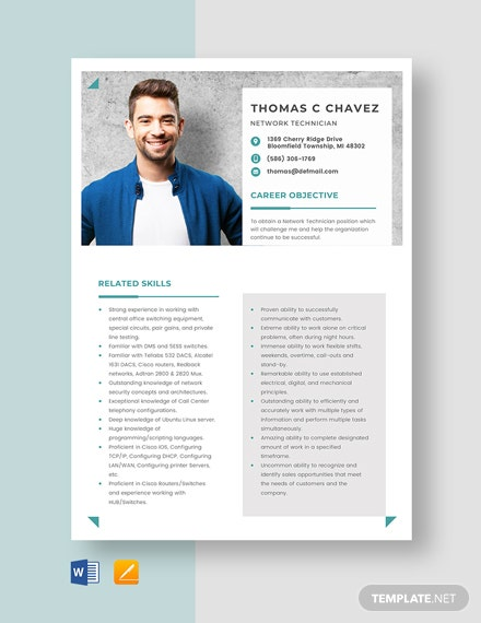 Network Technician Resume Template