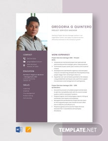 Project Services Manager Resume Template