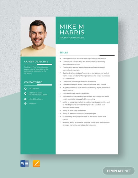 Promotion Manager Resume Template