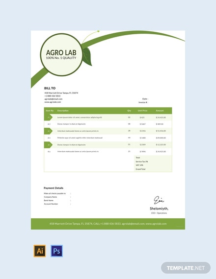 free agriculture invoice template download 78 invoices in word excel apple pages numbers pdf illustrator psd templatenet