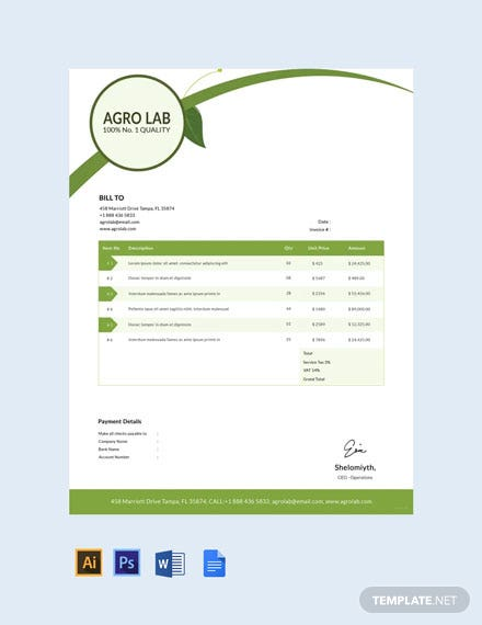 Free Agriculture Invoice Template