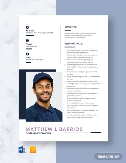 Generator Technician Resume Template