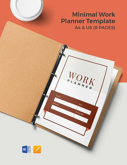 Free Minimal Work Planner Template