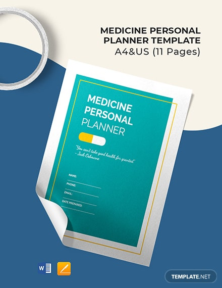 Free Medicine Personal Planner Template