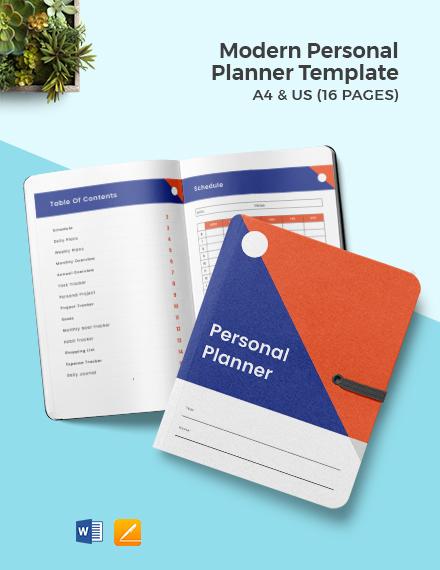 Modern Personal Planner Template