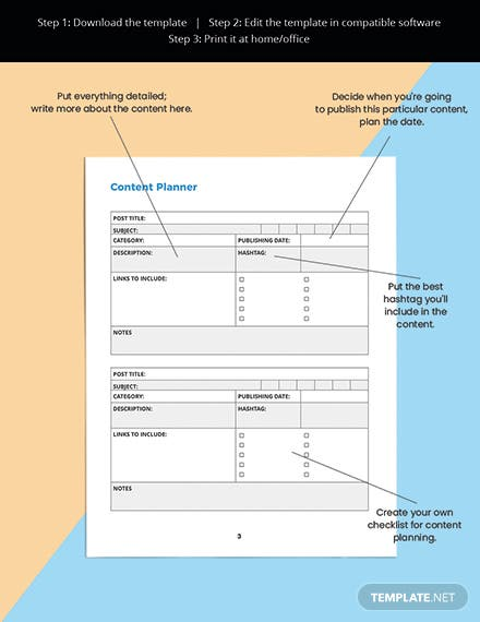 Digital Media Planner Template Content Planner