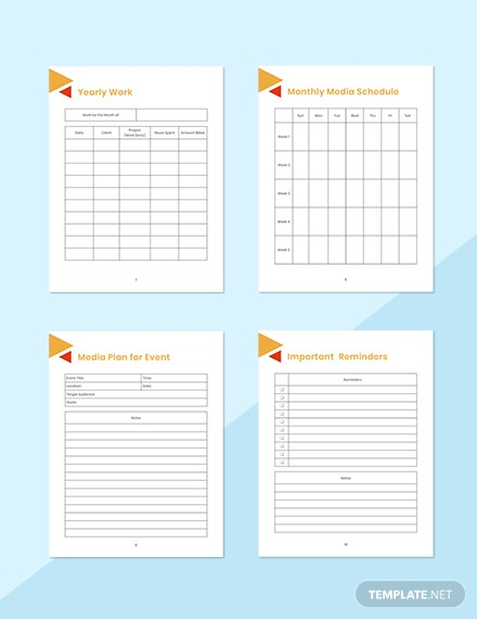 Editorial Media Planner Printable Yearly Work