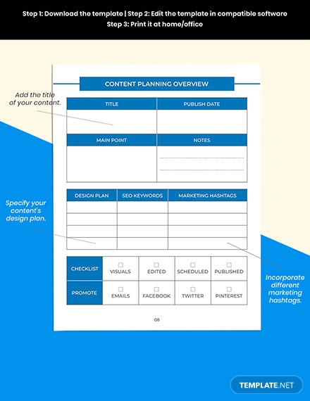 Content Media Planner Printable