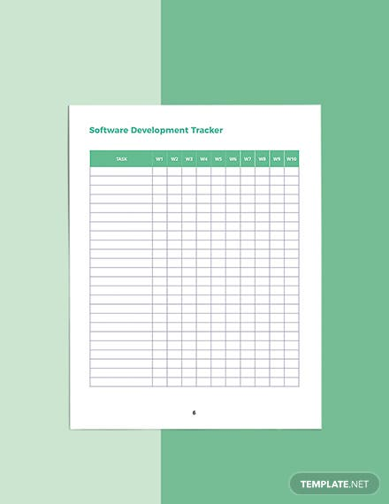 Software Development Planner Template Printable