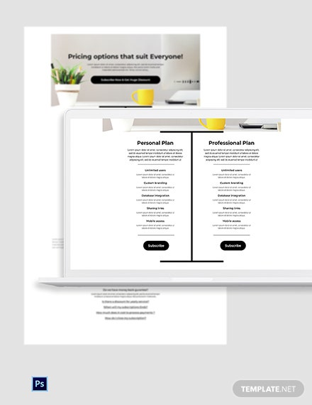 Free Advanced Pricing Page PSD Template
