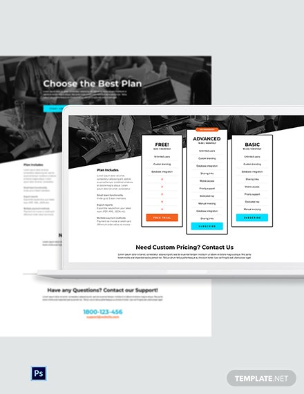 Free Business Pricing Page PSD Template