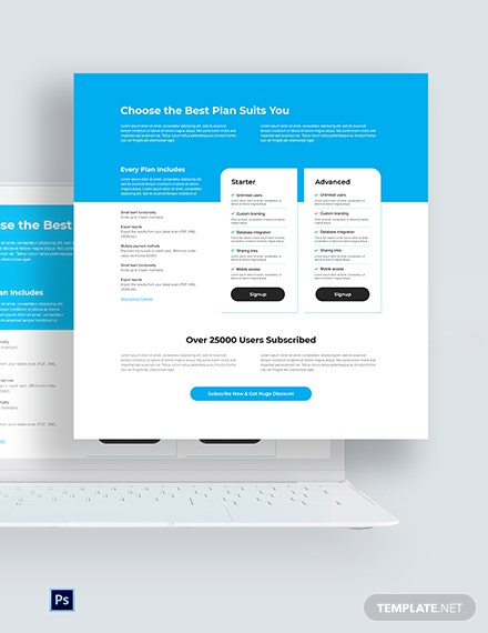 Free Clean Pricing Page PSD Template