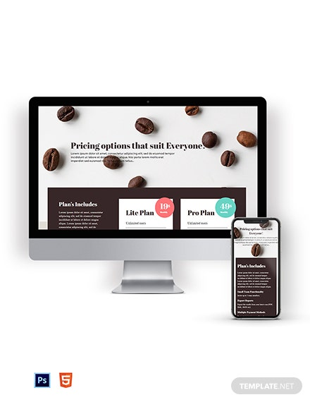 Coffee Shop Pricing Page Template