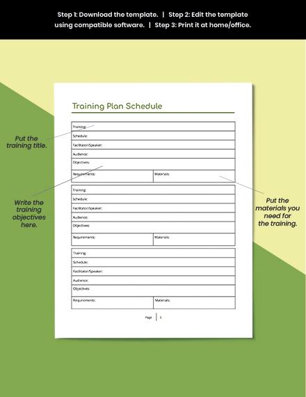 Editable Staff Training Planner