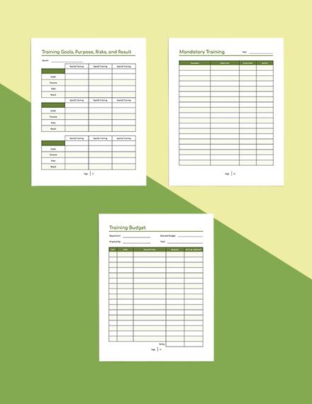 Printable Staff Training Planner