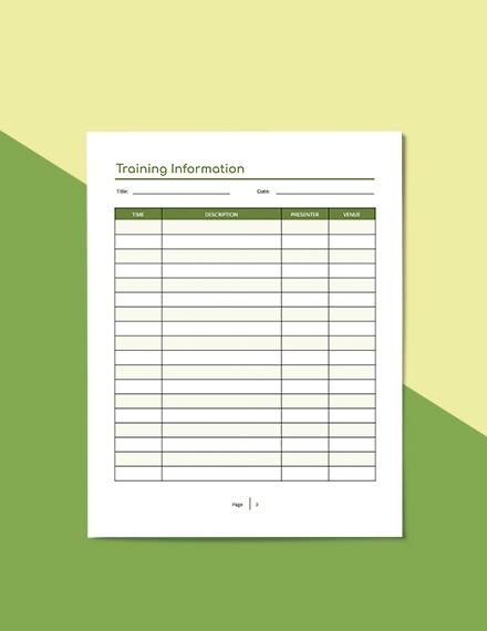 Sample Staff Training Planner
