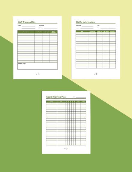 Staff Training Planner Example