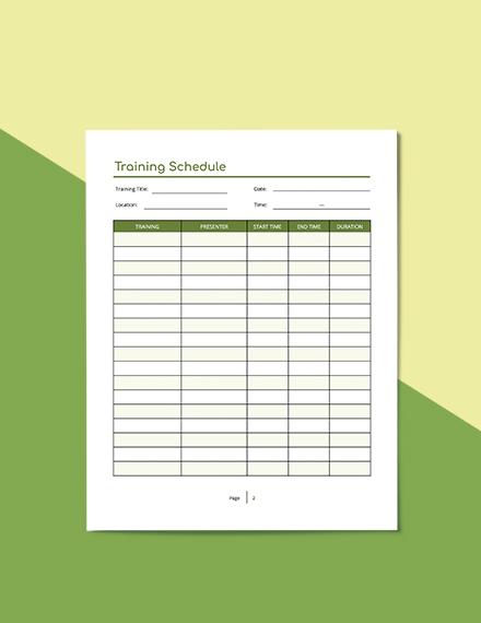 Staff Training Planner Format