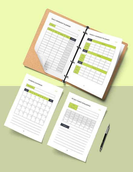 Editable Fitness Training Planner