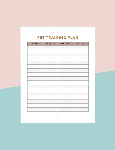 Printable Pet Training Planner