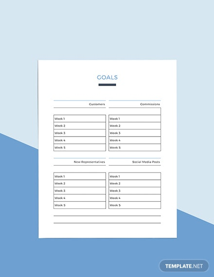 Sample Monthly sales Planner