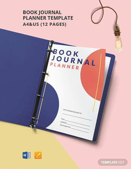 Book Journal Planner Template
