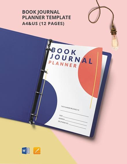 Book Journal Planner Template