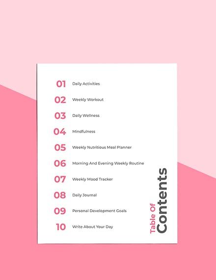 Wellness Journal Planner Sample