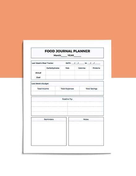Food Journal Planner Format