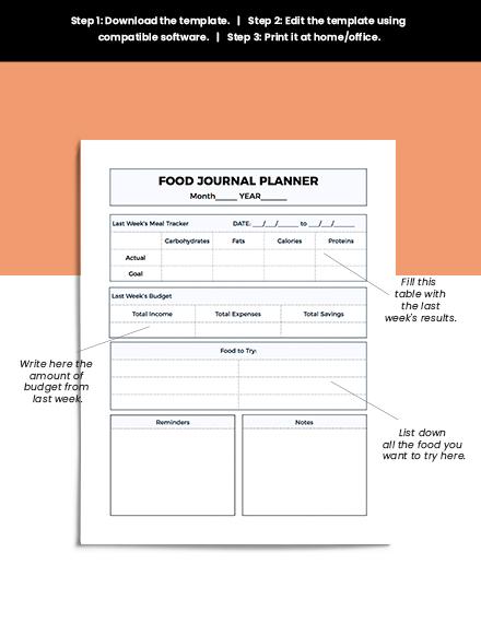 Printable Food Journal Planner