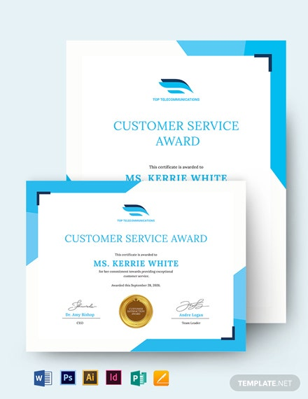 Customer Care Award Certificate Template