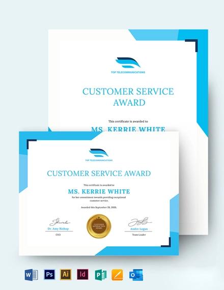 Customer Care Award Certificate Template
