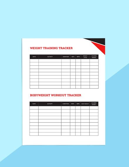Workout Journal Planner Sample