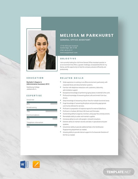 General Office Assistant Resume Template